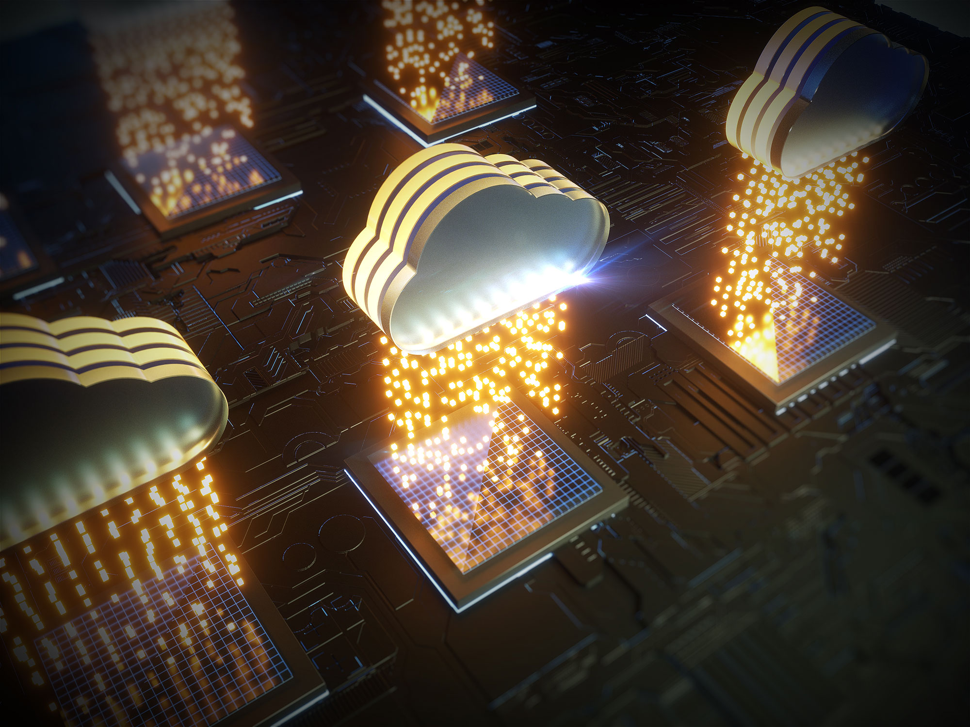 cloud-computing-rain-light-on-silicon-chips-circuit-board