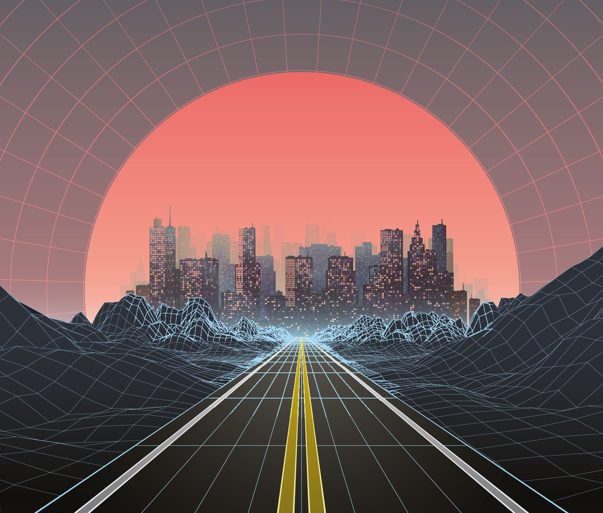 landscape-road-city-sunset-retro-80s-abstract