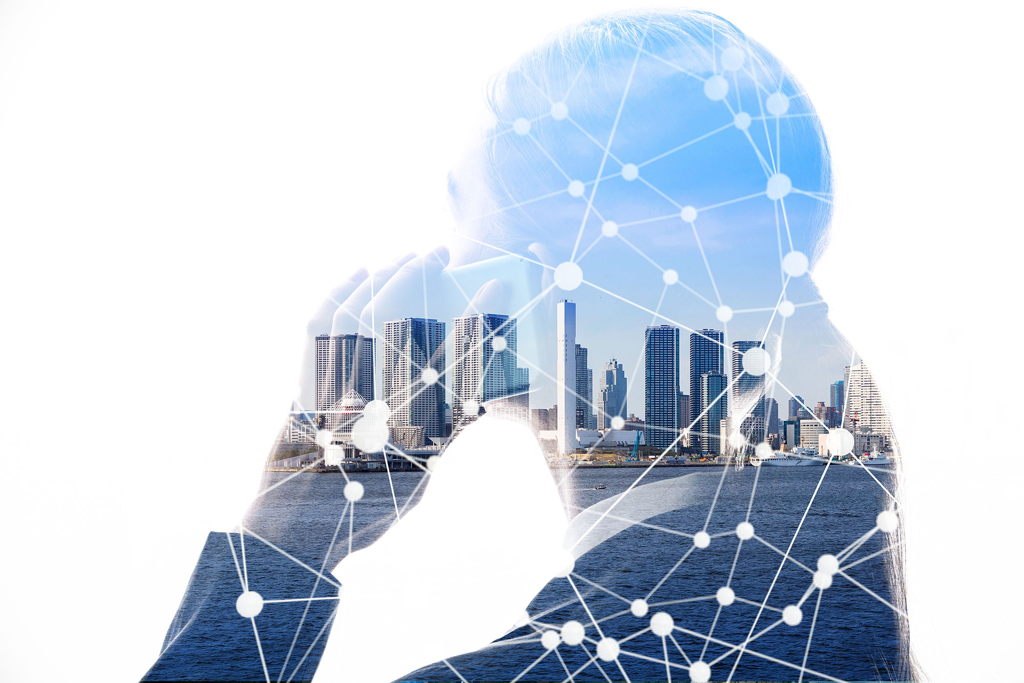 woman-using-smartphone-city-skyline-network-connections-double-exposure
