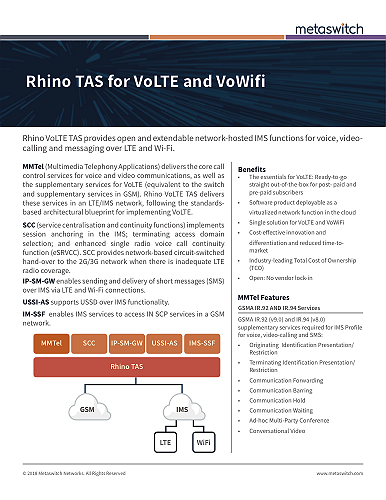 Rhino TAS for VoLTE and VoWiFi datasheet