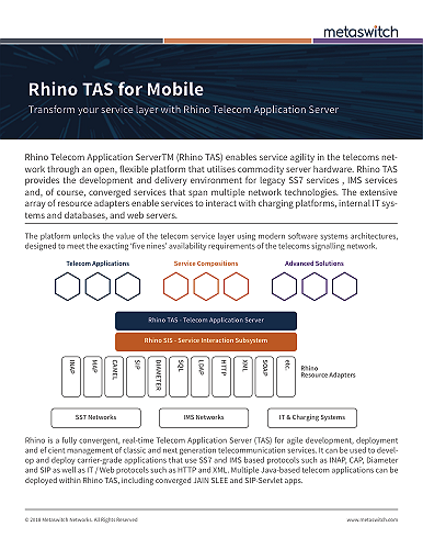 Rhino Telecom Application Server for Mobile datasheet
